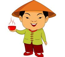 In treditional costume standing. China clipart man chinese
