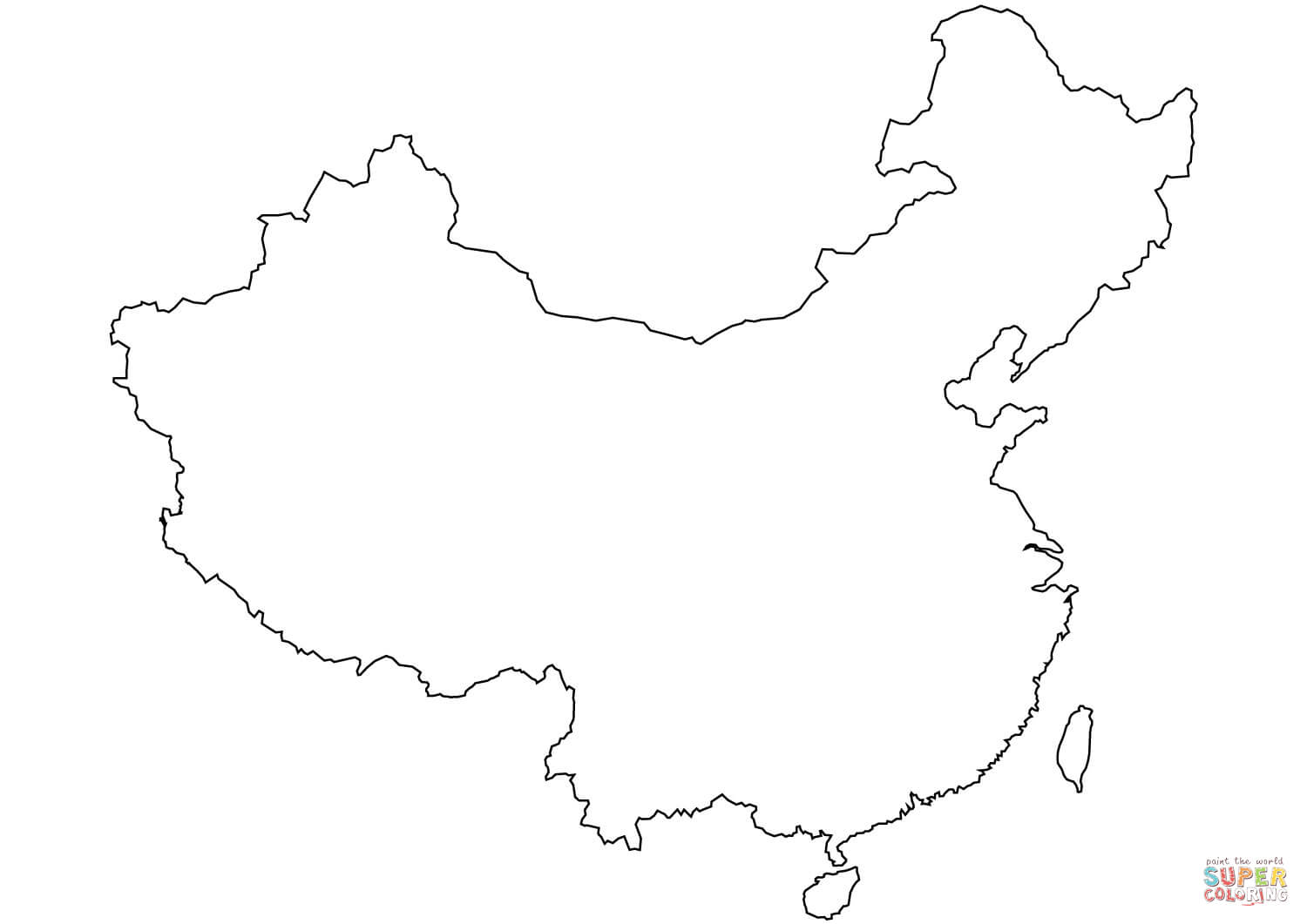 Blank outline coloring page. China clipart map