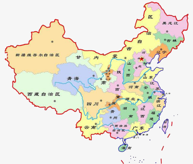 Hand drawn chinese provinces. China clipart map