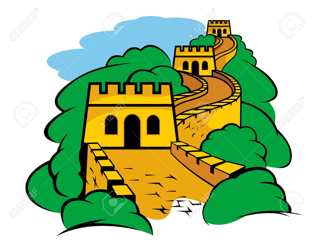 Chinese great wall landscape. China clipart medieval