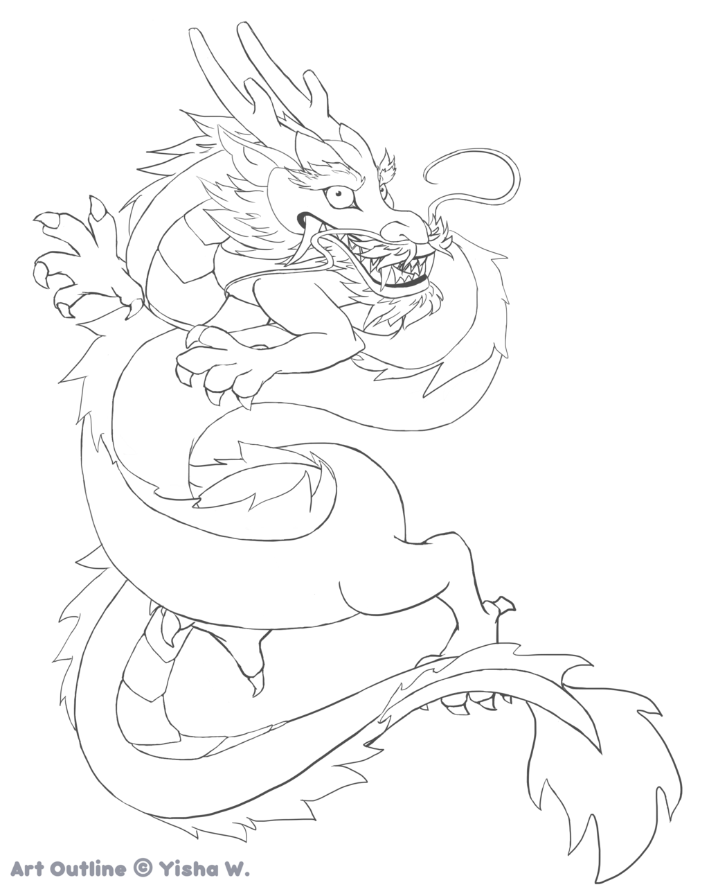 Chinese dragon easy drawing. China clipart outline