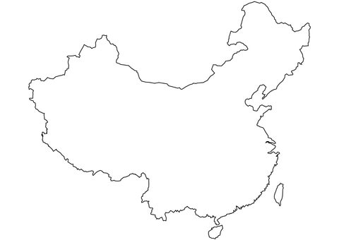 Blank map coloring page. China clipart outline