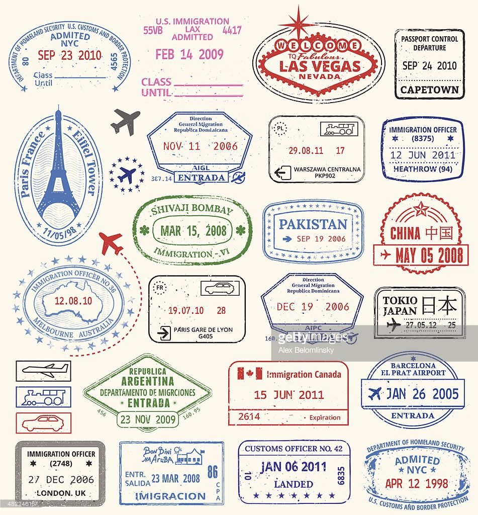 World travel stamps a. China clipart passport