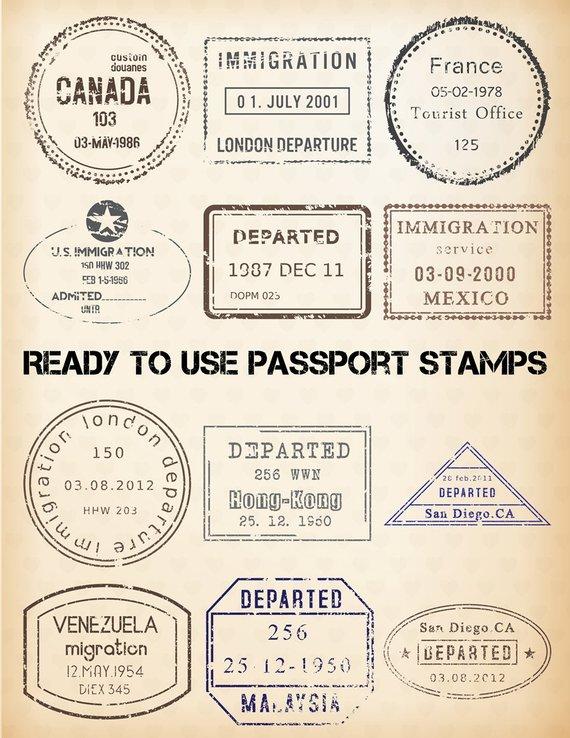 Stamp digital clip art. China clipart passport