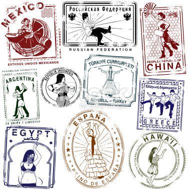 China clipart passport. Retro dance stamps vector