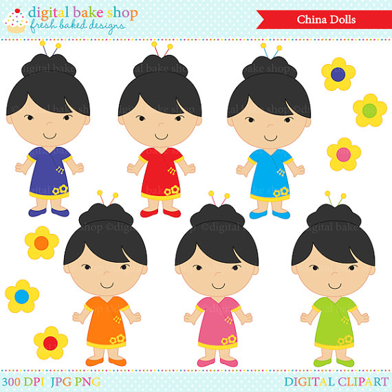 China clipart person chinese. Dolls digital clip art