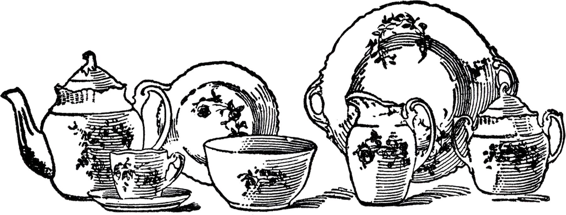 China clipart set. Vintage tea image the