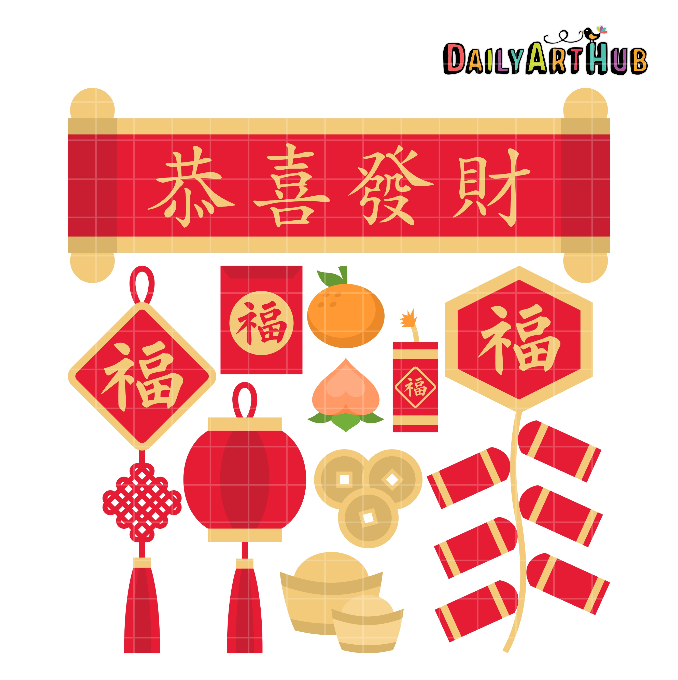 Chinese new year things. China clipart set