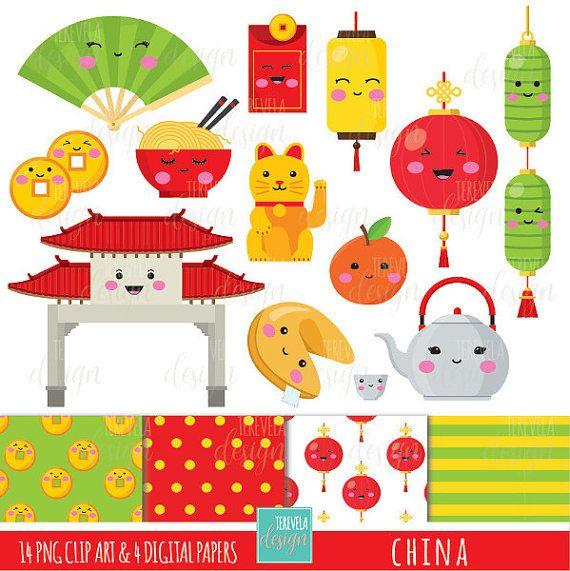 China clipart set.  sale digital commercial