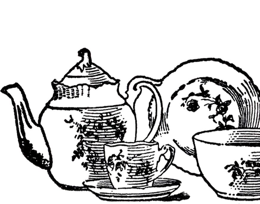 Vintage tea image the. China clipart set