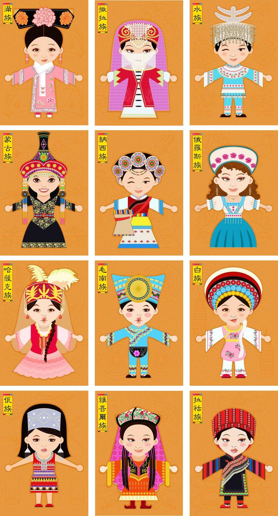 China clipart thing chinese. Minority ethnic people pinterest