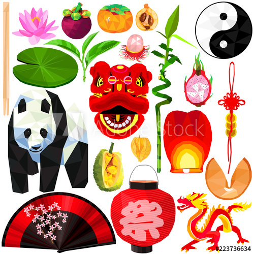 China clipart thing chinese. Asian culture set colorful