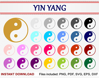 Etsy yin yang set. Chinese clipart