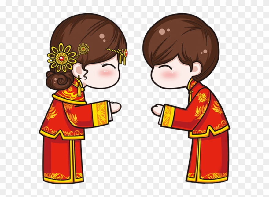Chinese clipart. Wedding cartoon men and