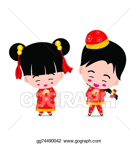 China clipart background. Vector art chinese boy