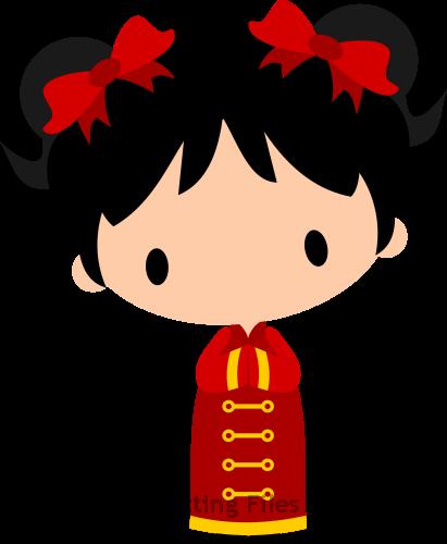 New year girl . Chinese clipart chibi