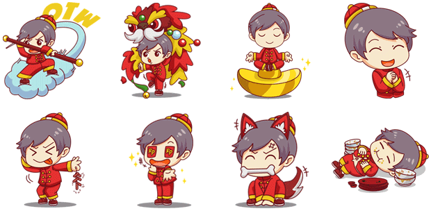 Boy new year stckrmarket. Chinese clipart chibi