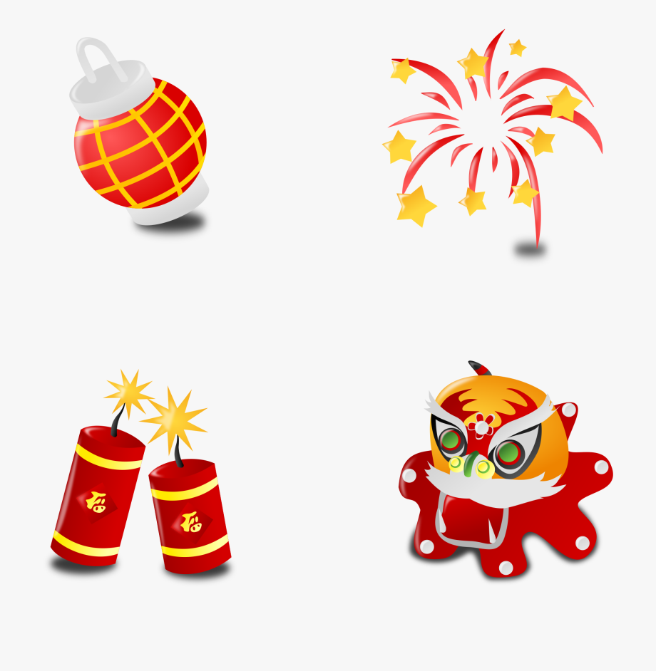 Fireworks lunar . Chinese clipart chinese new year