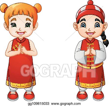 Vector art cartoon cute. Chinese clipart costume chinese