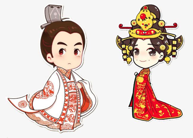 Chinese clipart costume chinese. Ancient king couple portrait
