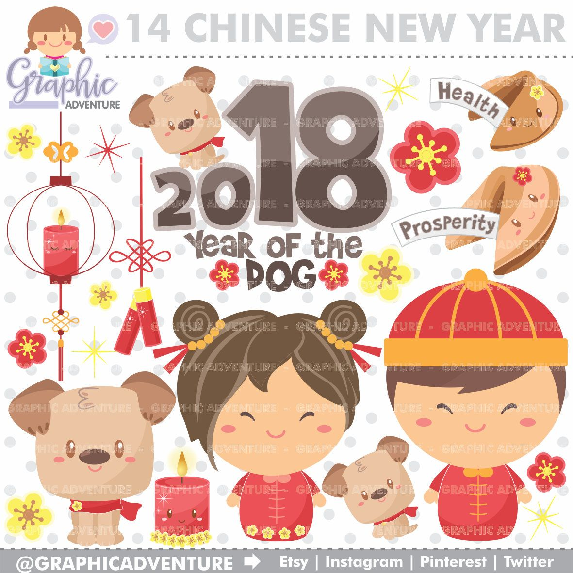 New year commercial use. Chinese clipart dog