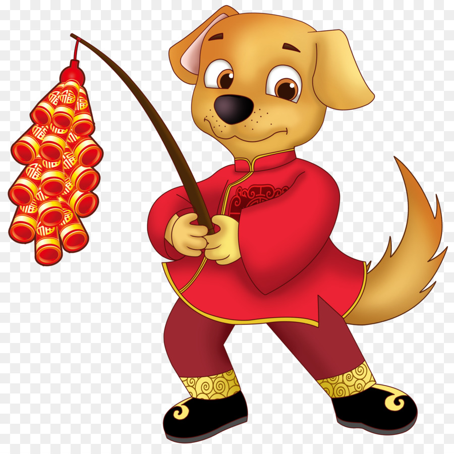 New year papercutting firecracker. Chinese clipart dog
