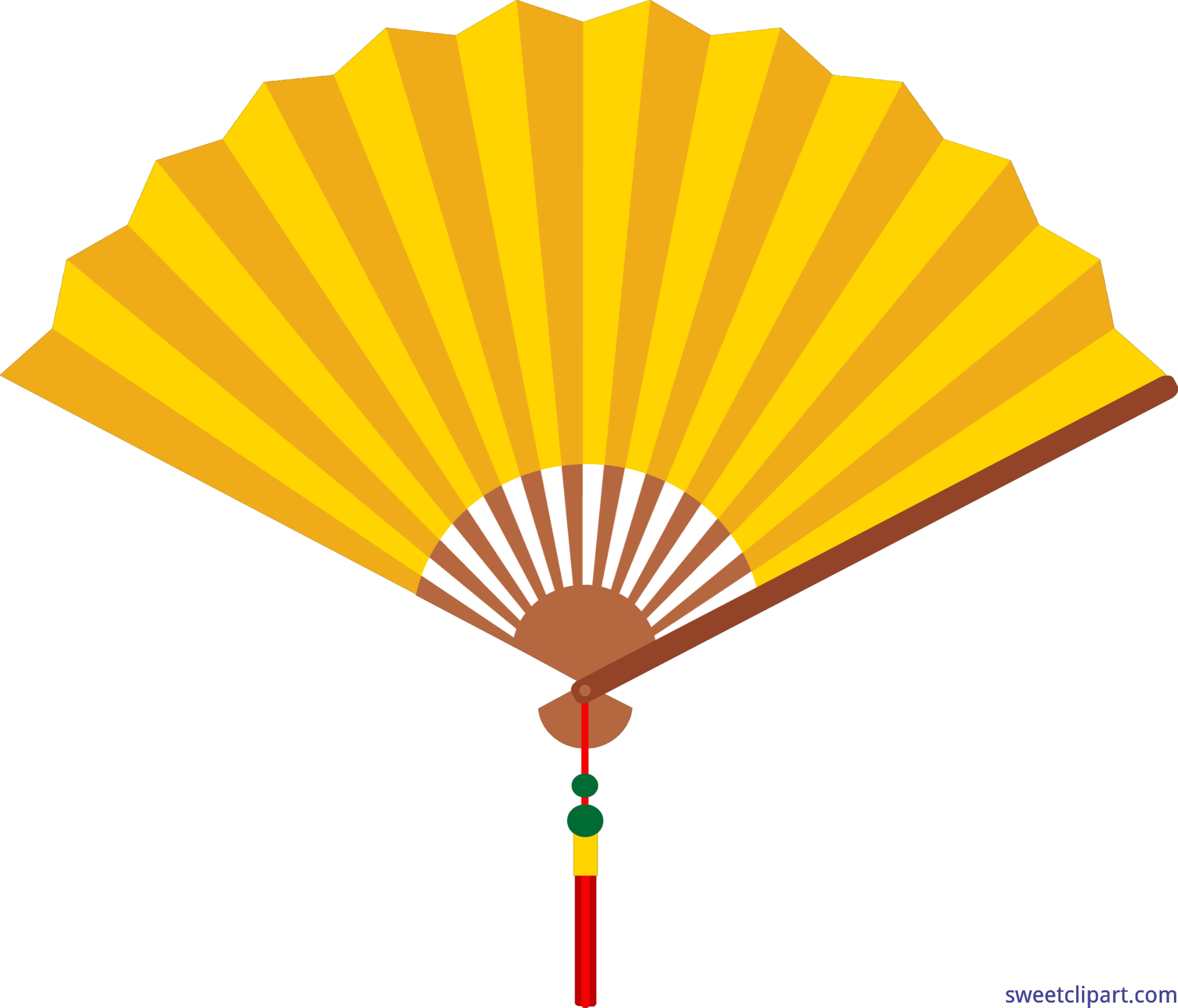 Clipart umbrella pastel. Chinese fan yellow clip