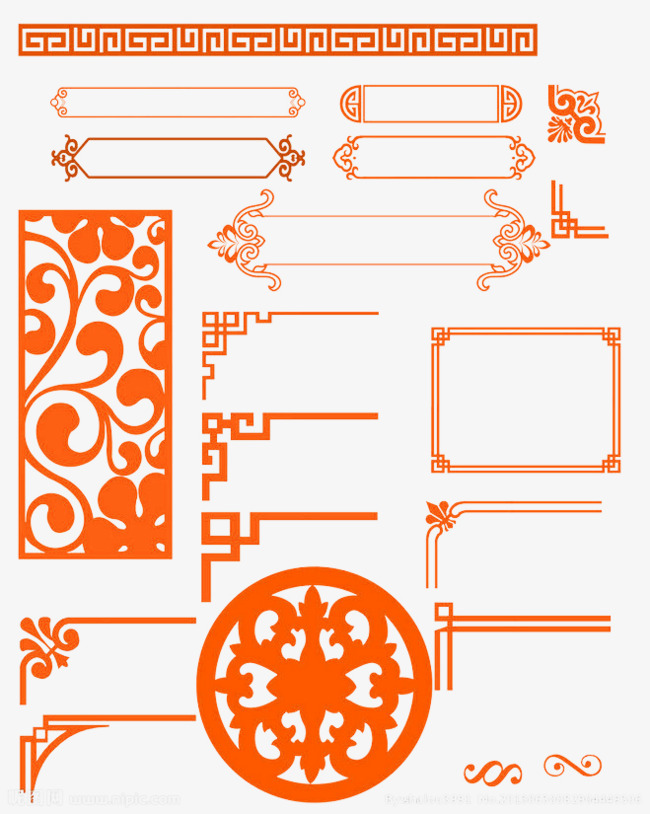 Red simple border texture. Chinese clipart frame
