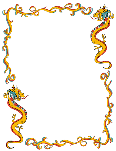 Chinese clipart frame. Dragon page new year