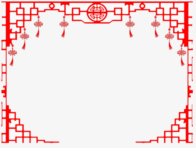Chinese clipart frame. Red wind window style