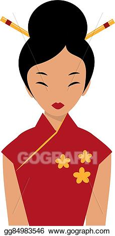 Vector illustration beautiful girl. Chinese clipart lady chinese