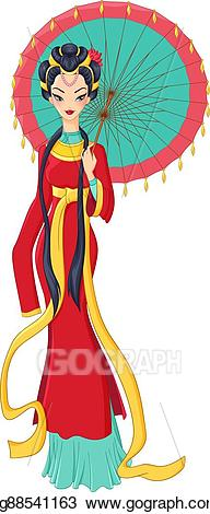 Chinese clipart lady chinese. Eps vector in traditional