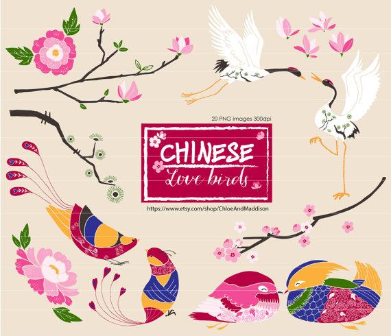 Chinese love birds chinoiserie. China clipart set