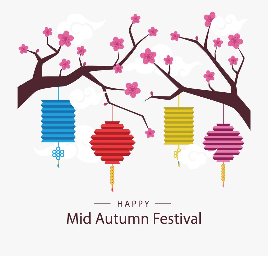 Happy clipart mid autumn festival. Mooncake lantern midautumn colored