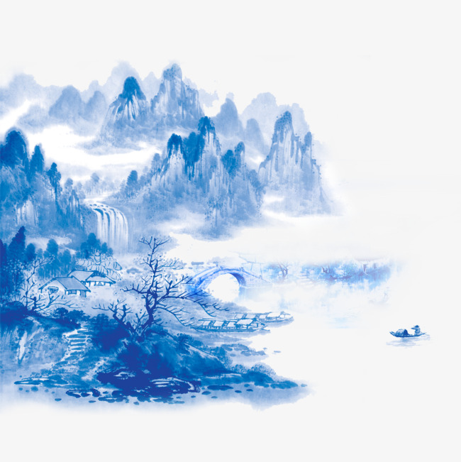 Chinese clipart scenery. Landscape painting artistic conception