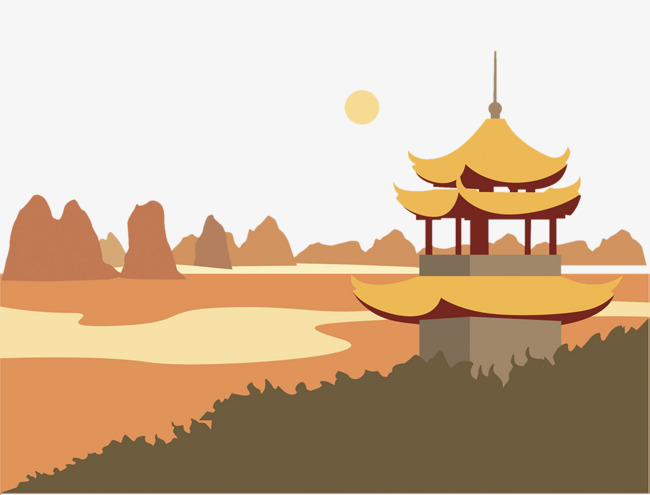 Chinese clipart scenery. Vector illustration of temple