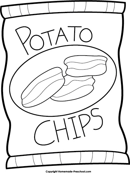 Chips clipart black and white. Open bag regarding chip
