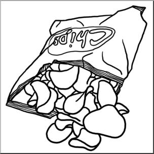 Clip art potato b. Chips clipart black and white