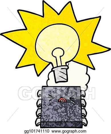 Chip clipart cartoon. Vector stock overheating computer