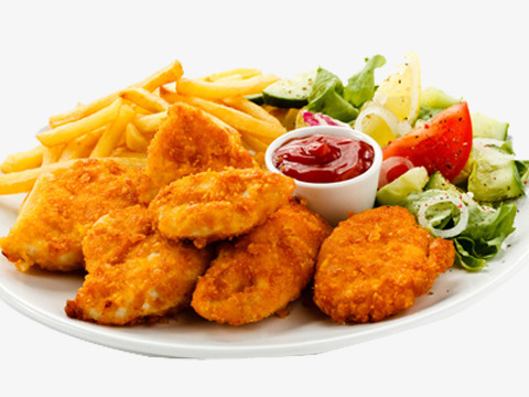 Nuggets and fries lunch. Chip clipart chicken nugget