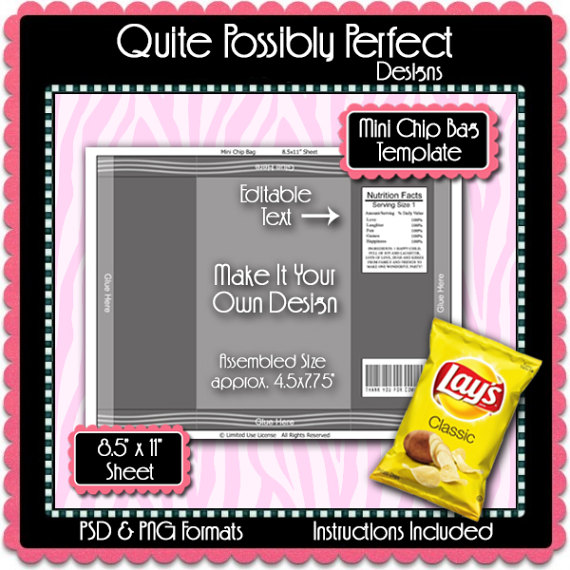 Chip clipart chip wrapper. Mini bag template instant