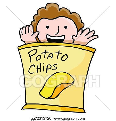 Chips clipart cartoon. Vector art potato chip
