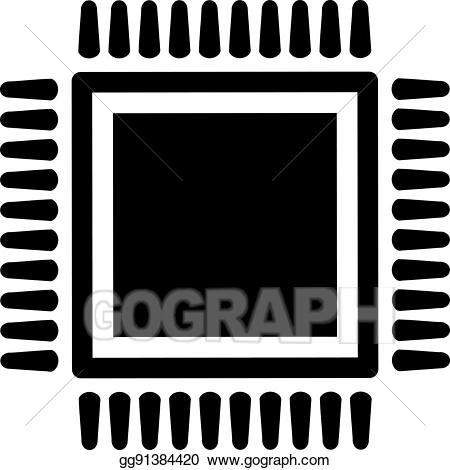 Vector art cpu drawing. Chip clipart computer chip