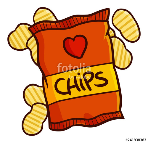 Funny and yummy orange. Chips clipart cute