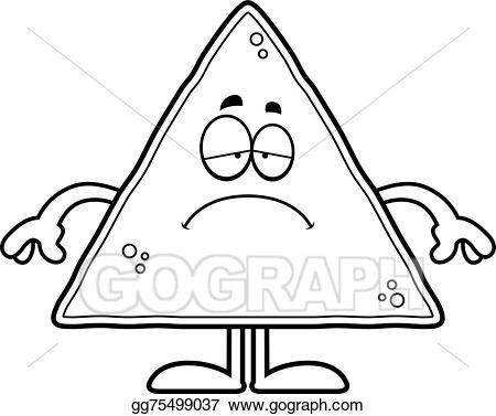 Chip clipart drawing. Vector art sad cartoon