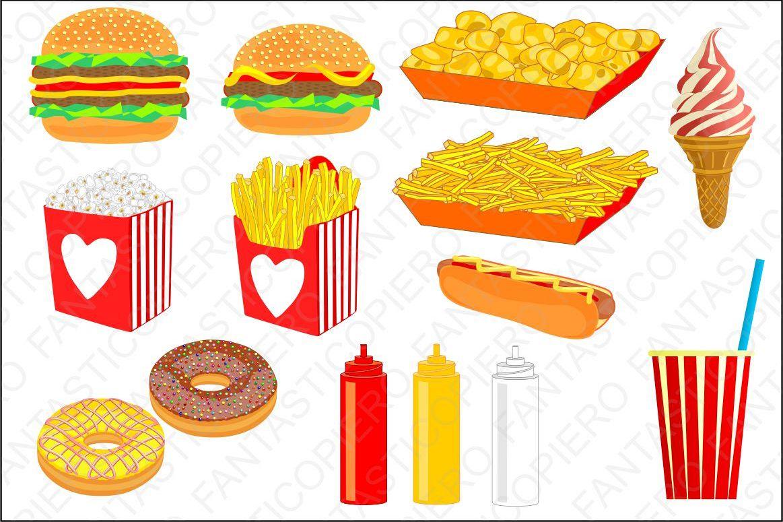 Chips clipart transparent background. Fast food cclipart hamburger
