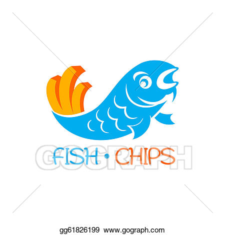 Chip clipart fish. Vector and chips illustration