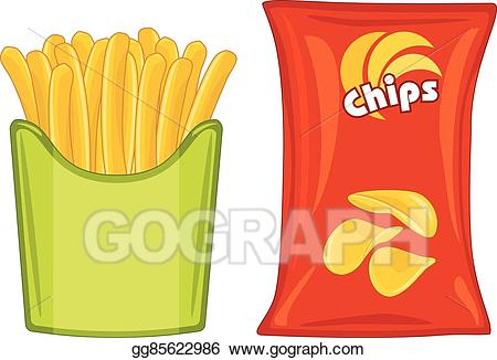 Vector potato chips and. Chip clipart french