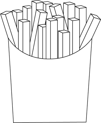 Chip clipart french. Black and white fries