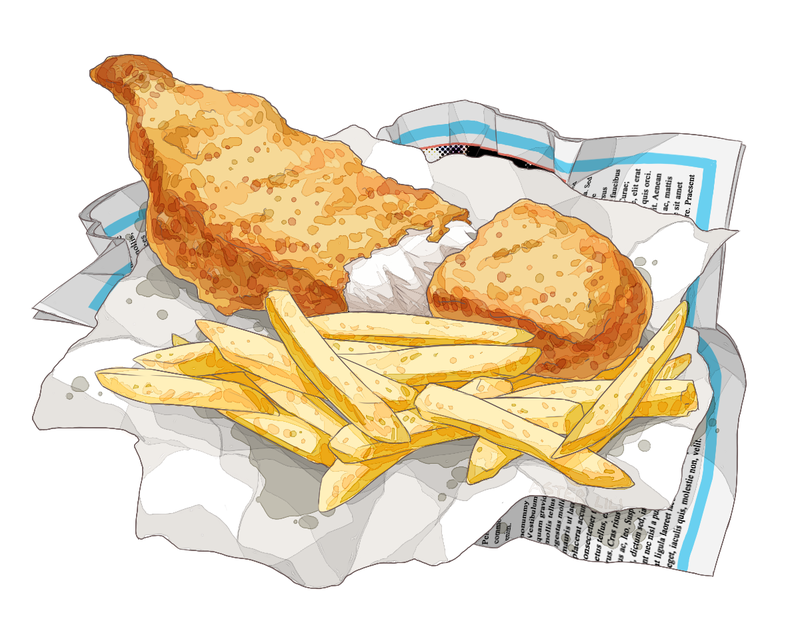 Chip clipart fried chip. Fish and chips drawing